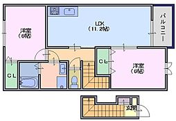 奈良県天理市二階堂上ノ庄町の賃貸アパートの間取り