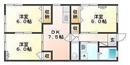 水江コーポ[102号室]の間取り