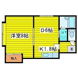 北海道札幌市東区北二十二条東18丁目の賃貸アパートの間取り
