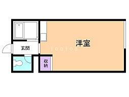 コーポ東園6 1階ワンルームの間取り