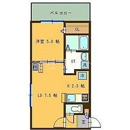 サンコート円山ガーデンヒルズ 7階1LDKの間取り