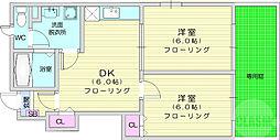 仙台市地下鉄東西線 八木山動物公園駅 3.5kmの賃貸アパート 1階2DKの間取り