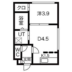 札幌市営東西線 西28丁目駅 徒歩8分の賃貸マンション 4階1DKの間取り