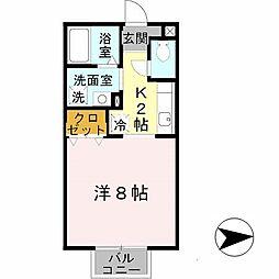 兵庫県姫路市亀山1丁目の賃貸アパートの間取り