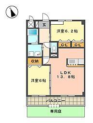 愛知県日進市岩崎台1丁目の賃貸アパートの間取り