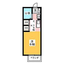 オゼットワールB[1階]の間取り