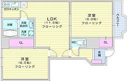仙台市地下鉄東西線 八木山動物公園駅 徒歩17分の賃貸アパート 1階2LDKの間取り