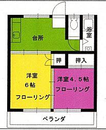 ニュー武蔵マンション[303号室]の間取り