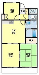 愛知県豊田市東梅坪町10丁目の賃貸マンションの間取り