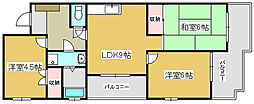 兵庫県加古川市別府町朝日町の賃貸マンションの間取り