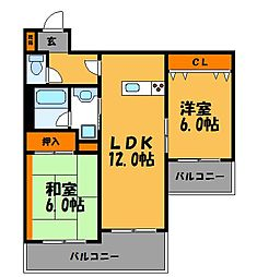 ジートラスト薬院[6階]の間取り