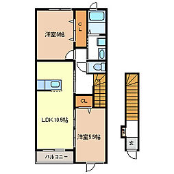 ヴィーヴェレ[2階]の間取り