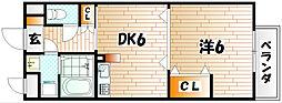 福岡県北九州市小倉南区徳力新町1丁目の賃貸アパートの間取り