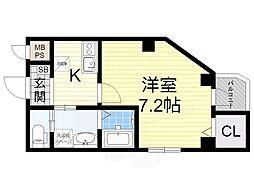 南海高野線 堺東駅 徒歩14分の賃貸マンション 1階1Kの間取り
