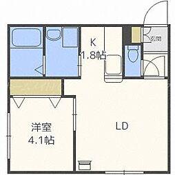 北海道札幌市東区北二十五条東14丁目の賃貸アパートの間取り