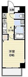 小田急小田原線 相武台前駅 徒歩2分の賃貸マンション 8階1Kの間取り