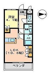 プレステージ佐野[203号室]の間取り