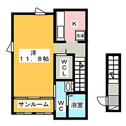 アークリヴェール平田I 2階1Kの間取り
