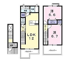広島県福山市瀬戸町大字地頭分の賃貸アパートの間取り