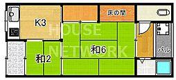 銀鶴ハウス[1-C号室号室]の間取り