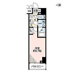 プレール・ドゥーク文京湯島 3階1Kの間取り