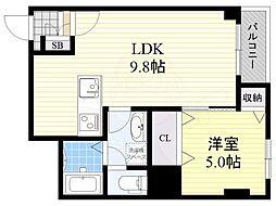 Osaka Metro御堂筋線 江坂駅 徒歩10分の賃貸マンション 1階1LDKの間取り