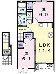 香川県高松市勅使町の賃貸アパートの間取り
