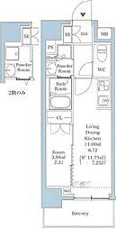 JR山手線 西日暮里駅 徒歩7分の賃貸マンション 11階1DKの間取り