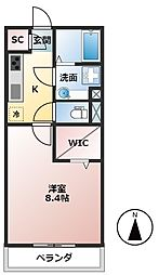 養老鉄道 北大垣駅 徒歩17分の賃貸アパート 2階1Kの間取り