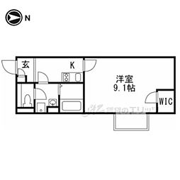 京阪宇治線 六地蔵駅 徒歩9分の賃貸アパート 1階1Kの間取り