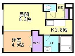 カレラ麻生2nd. 1階1LDKの間取り