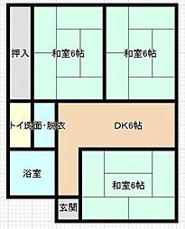 JR日豊本線 国分駅 徒歩24分の賃貸アパート 1階3DKの間取り