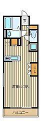 JR中央線 三鷹駅 徒歩20分の賃貸マンション 2階ワンルームの間取り