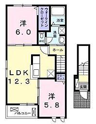 高松琴平電気鉄道長尾線 長尾駅 3.8kmの賃貸アパート 2階2LDKの間取り