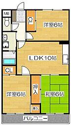 福岡県筑紫野市紫2丁目の賃貸マンションの間取り