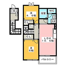 クレセントもえぎB棟[2階]の間取り