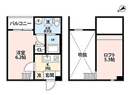 pavillon honnete biwajima[2階]の間取り