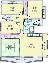 上野坂グリーン2[6階]の間取り