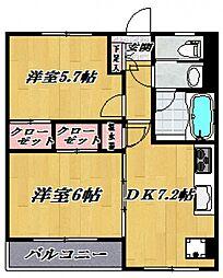 コーポ津田山[401号室号室]の間取り