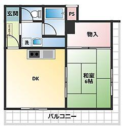レクシア曽根崎[6階]の間取り