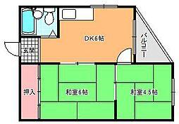 キャッスル駒川[5階]の間取り