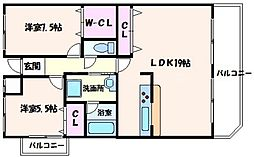 アドニスセンリ 6階2LDKの間取り