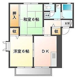 埼玉県坂戸市芦山町の賃貸アパートの間取り
