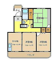松林壱番舘[201号室]の間取り