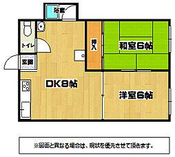 福岡県北九州市八幡東区勝山1丁目の賃貸アパートの間取り