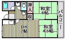 佐野湊団地[1304号室]の間取り
