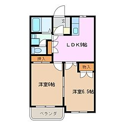 三重県四日市市楠町本郷の賃貸アパートの間取り