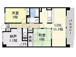 北大阪急行電鉄 桃山台駅 徒歩20分の賃貸マンション 3階2SLDKの間取り
