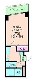 福島プライム[6階]の間取り