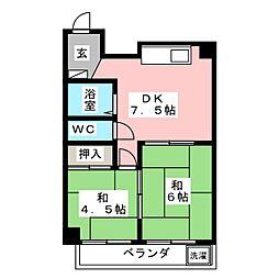 メイグリーンハイツ皿山[4階]の間取り